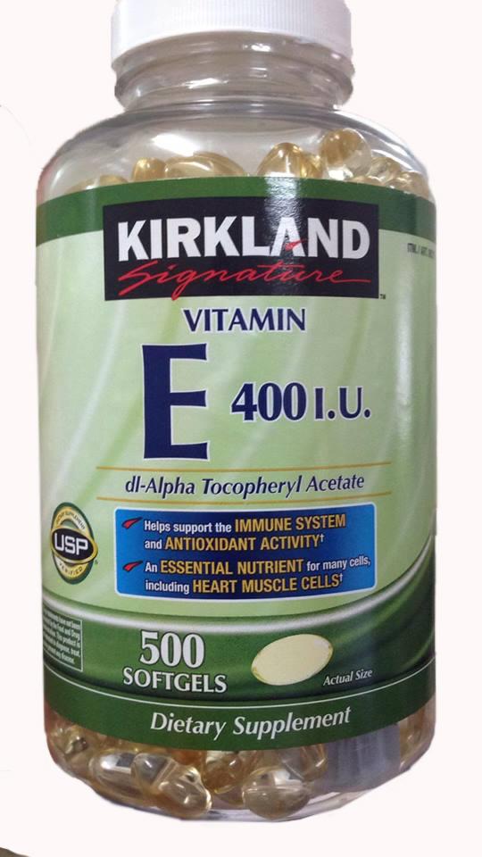 Vitamin E 400 IU 500 viên Kirkland của Mỹ - Đẹp da, làm chậm lão hóa hiệu quả